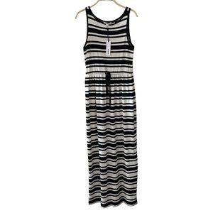 BB Dakota Black & White Stripe Long dress